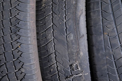 Uneven tyre wear caused by wheel mis-alignment